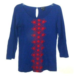 Lucky Brand Blouse Tunic Embroidered Boho Shirt